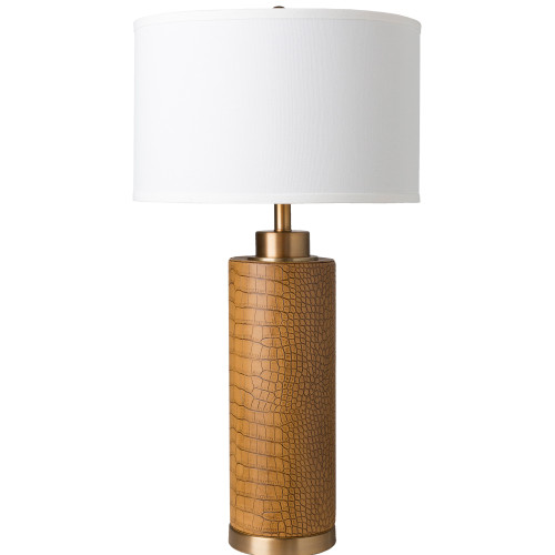 """30.5"""" Brown Faux Croc Metal Body with White Linen Shade Table Lamp - IMAGE 1"""