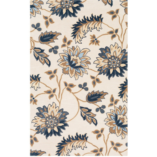 5' x 8' Floral Patterned Beige and Blue Hand Tufted Wool Rectangular Area Throw Rug - IMAGE 1