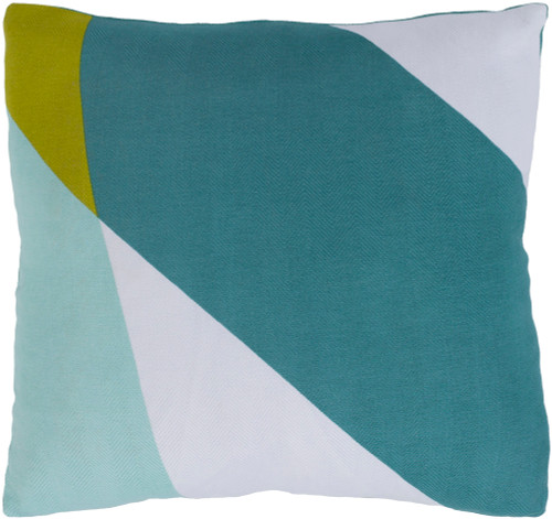 """22"""" Mint Green and White Square Throw Pillow - Poly Filled - IMAGE 1"""