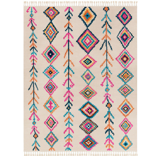 "9'3"" x 12'1"" Pink and Ivory Bohemian Diamond Patterned Rectangular Machine Woven Area Rug - IMAGE 1"