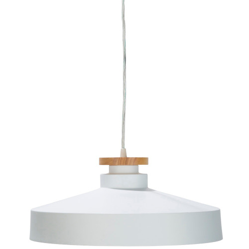 15.75 Brown Wood Fixture with White Painted Metal Ceiling Lighting - IMAGE 1