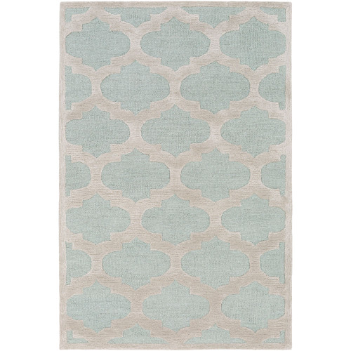 2' x 3' Moroccan Trellis Mint Green and Brown Rectangular Hand Tufted Wool Area Throw Rug - IMAGE 1