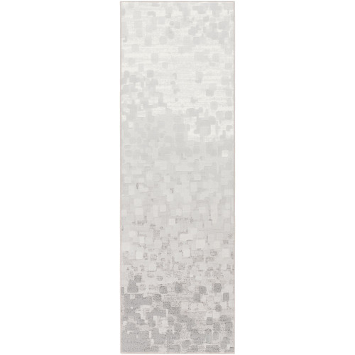 2.5' x 7.8' Solid Gray and White Rectangular Area Throw Rug Runner - IMAGE 1