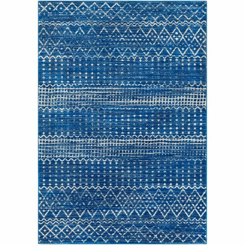 6.5' x 9' Gray and Navy Blue Tribal Patterned Rectangular Area Throw Rug - IMAGE 1