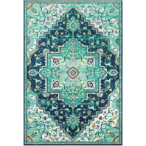 "6'7"" x 9'6"" Persian Medallion Design Green and Blue Rectangular Machine Woven Area Rug - IMAGE 1"
