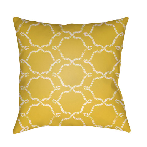 """18"""" Yellow and White Ogee Patterned Square Throw Pillow Cover - IMAGE 1"""