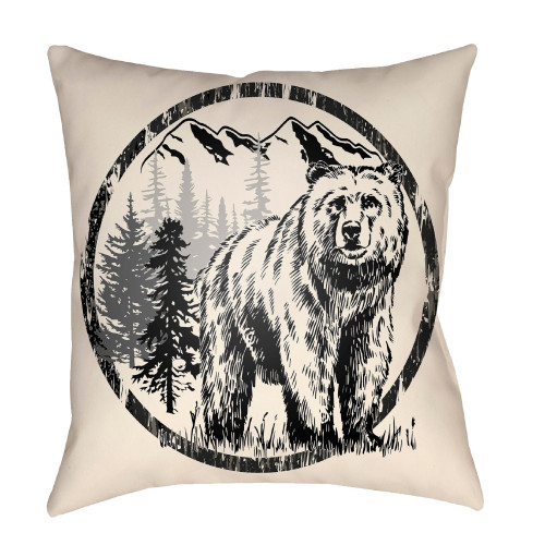 """22"""" Black and Linen White Polar Bear Printed Square Throw Pillow Cover - IMAGE 1"""