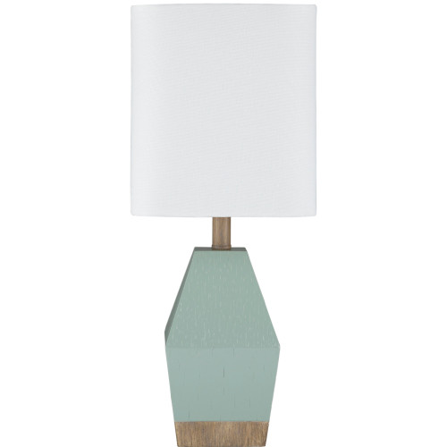 """17.37"""" Aqua Lacquered Table Lamp with White Linen Rectangle Shade - IMAGE 1"""