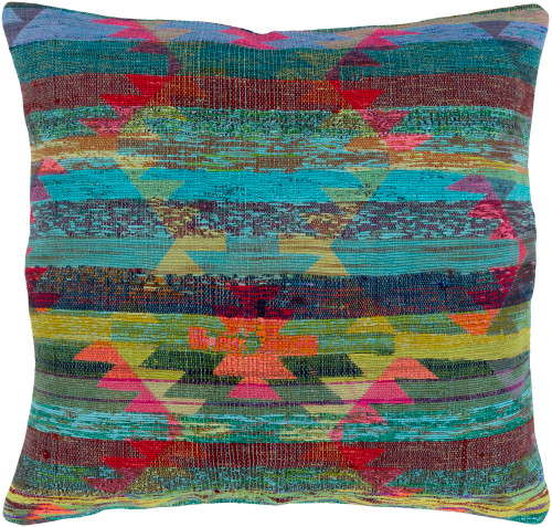 """20"""" Bright Pink and Aqua Blue Knife Edge Square Throw Pillow - Down Filler - IMAGE 1"""