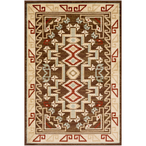 "6'7"" x 9'6"" Tribal Motif Sand Brown and Beige Rectangular Area Rug - IMAGE 1"