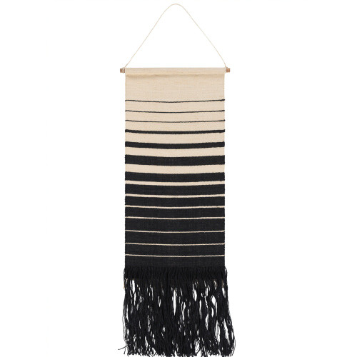 "38"" Cream and Black Striped Pattern Hand Woven Fringed Wall Hanging - IMAGE 1"