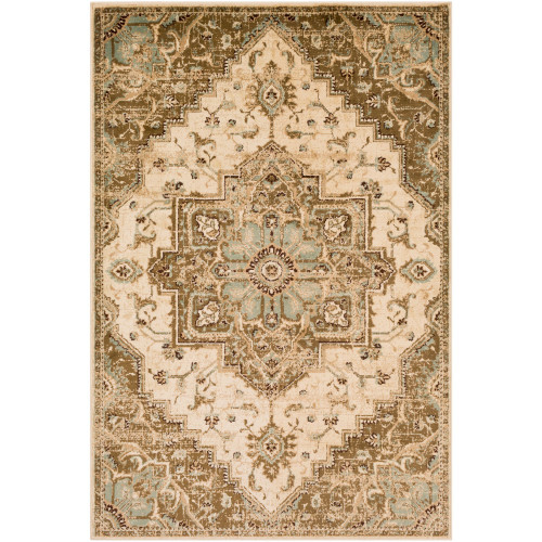 "6'7"" x 9'6"" Medieval Pattern Beige and Brown Rectangular Area Rug - IMAGE 1"
