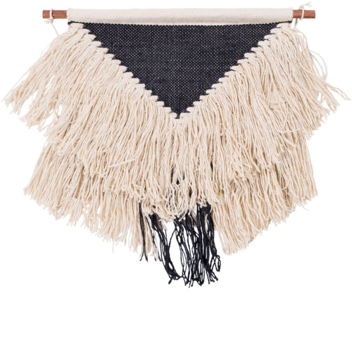 """22"""" Cream and Black Hand Woven Fringed Wall Hanging - IMAGE 1"""