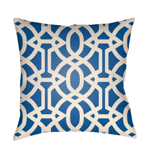 """20"""" Cobalt Blue and Beige Imperial Trellis Printed Square Throw Pillow Cover - IMAGE 1"""