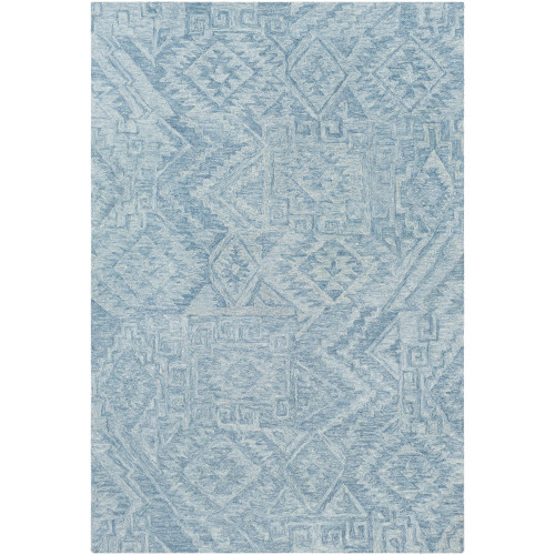 4' x 6' Tribal Patterned Blue Rectangular Area Throw Rug - IMAGE 1