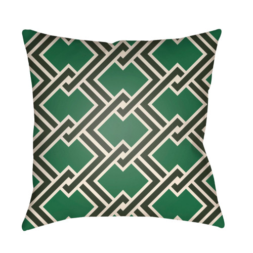 "20"" Green and Black Chain Link Patterned Square Throw Pillow Cover - IMAGE 1"