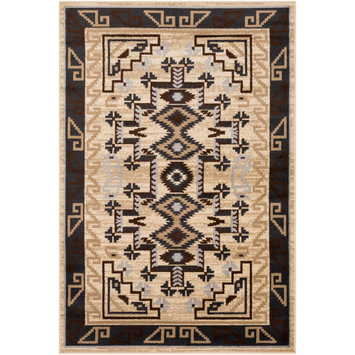 "6'7"" x 9'6"" Tribal Pattern Beige and Brown Rectangular Area Rug - IMAGE 1"
