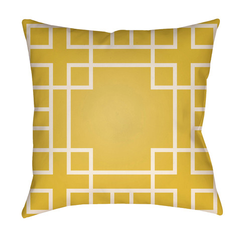 """20"""" Yellow and White Shanghai Links Patterned Square Throw Pillow Cover - IMAGE 1"""