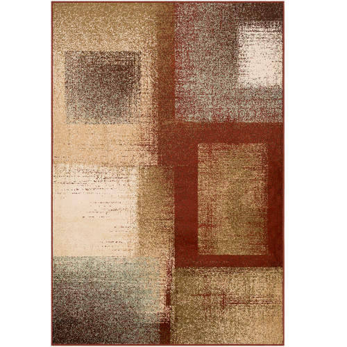 "6'7"" x 9'6"" Rectangular Pattern Red and Beige Rectangular Area Rug - IMAGE 1"