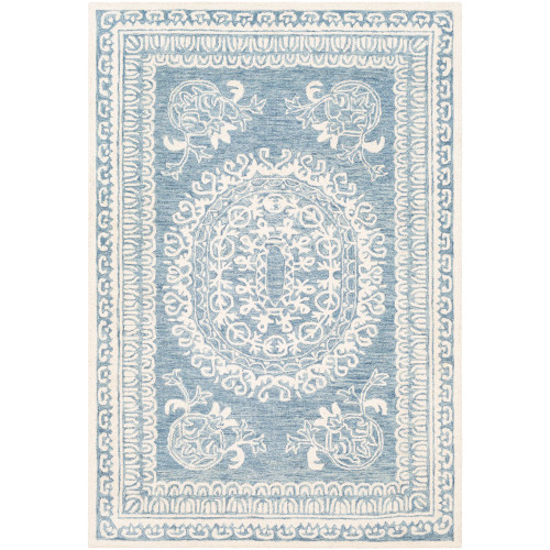 """5' x 7'6"""" Persian Oval Medallion Design Blue and Beige Rectangular Hand Tufted Area Rug - IMAGE 1"""
