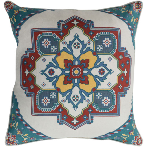 """20"""" Blue and Red Screen Printed Square Woven Throw Pillow Cover with Piping - IMAGE 1"""