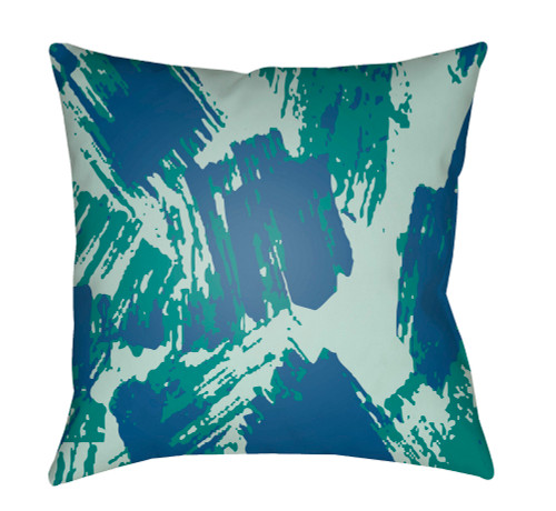 "20"" Green and Navy Blue Digitally Printed Square Throw Pillow Cover - IMAGE 1"