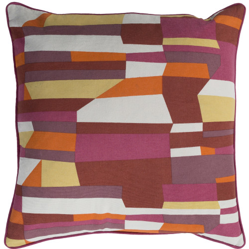 "20"" Pink and Orange Screen Printed Square Woven Throw Pillow Cover with Piping - IMAGE 1"