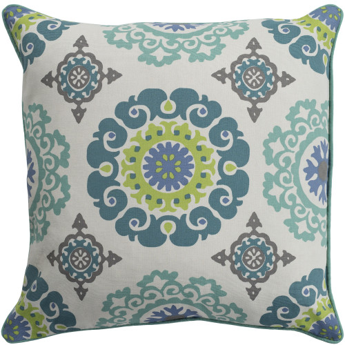 """20"""" Teal Blue and Ivory Screen Printed Square Throw Pillow Cover with Piping - IMAGE 1"""