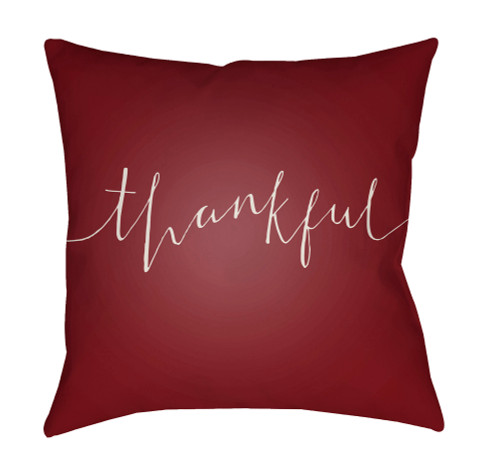 """20"""" Red and Ivory """"thankful"""" Printed Square Throw Pillow Cover with Knife Edge - IMAGE 1"""