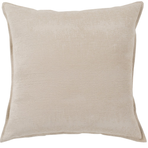 "18"" Plain Brown Square Woven Throw Pillow Cover with Flange Edge - IMAGE 1"