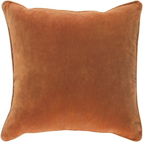 """18"""" Burnt Orange Velvet Square Throw Pillow- Down Filler - IMAGE 1"""