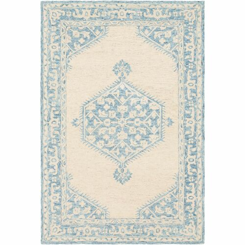 8' x 10' Medallion Blue and Beige Rectangular Hand Tufted Wool Area Throw Rug - IMAGE 1