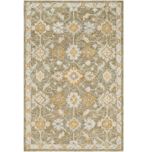 2' x 3' Medieval Pattern Brown and Beige Rectangular Wool Area Rug - IMAGE 1