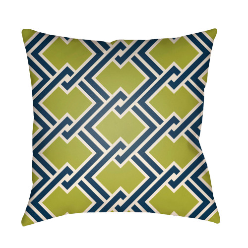 """20"""" Olive Green and Blue Chain Link Patterned Square Throw Pillow Cover - IMAGE 1"""