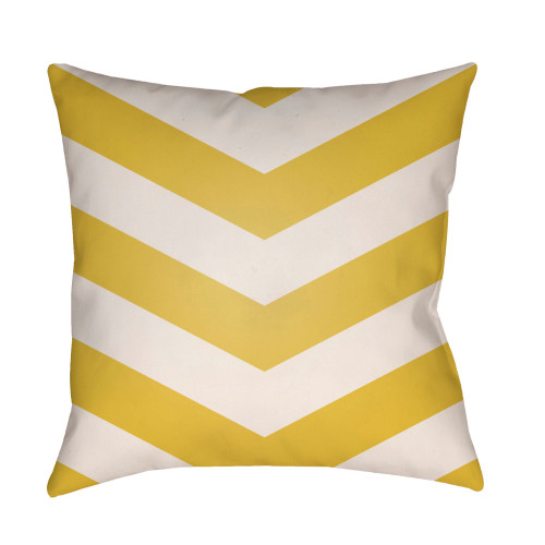 "20"" Yellow and White Chevron Patterned Square Throw Pillow Cover - IMAGE 1"