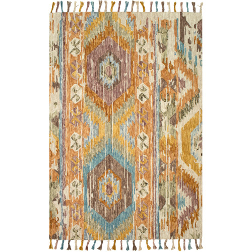 5' x 7.5' Denim Blue and Brown Rectangular Area Throw Rug - IMAGE 1