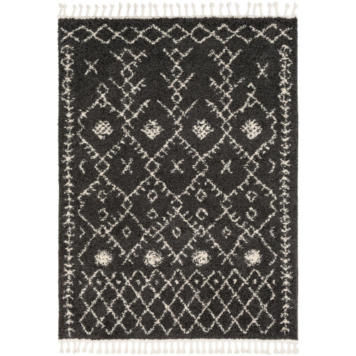 5.25' x 7.25' Geometric Charcoal Black and Alabaster White Rectangular Area Throw Rug with Tassels - IMAGE 1