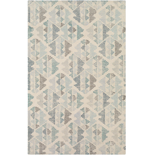 2' x 3' Seamless Pattern Light Brown and Light Blue Wool Area Rug - IMAGE 1