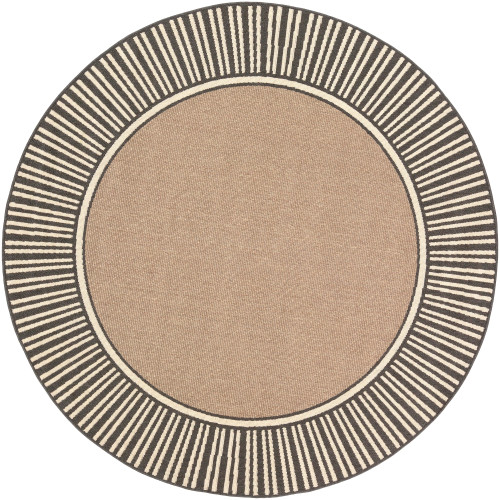 """5'3"""" Alfresco Brown with Black and Beige Stripe Border Patterned Round Synthetic Area Throw Rug - IMAGE 1"""