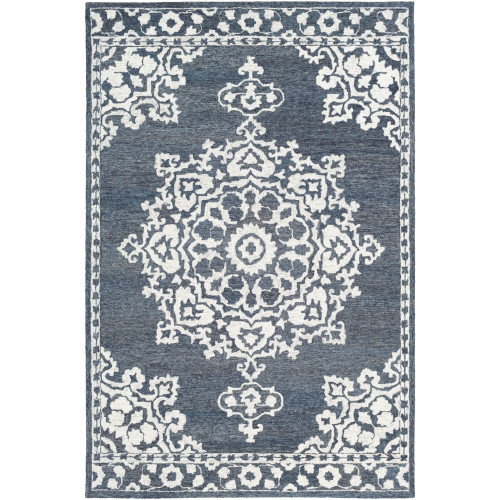 8' x 10' Persian Medallion Blue and Beige Rectangular Hand Tufted Wool Area Throw Rug - IMAGE 1