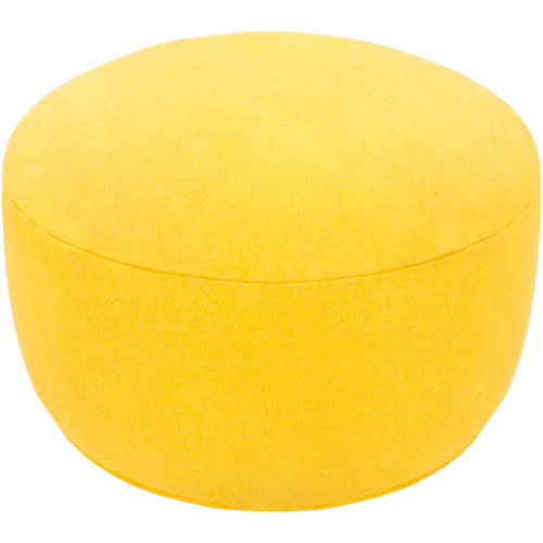 """30"""" Yellow Solid Felted Cylindrical Pouf Ottoman - IMAGE 1"""