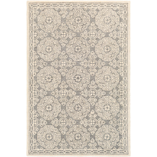 8' x 10' Medieval Style Gray and Beige Rectangular Hand Tufted Wool Area Throw Rug - IMAGE 1