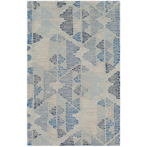 2' x 3' Seamless Pattern Blue and Gray Wool Area Rug - IMAGE 1