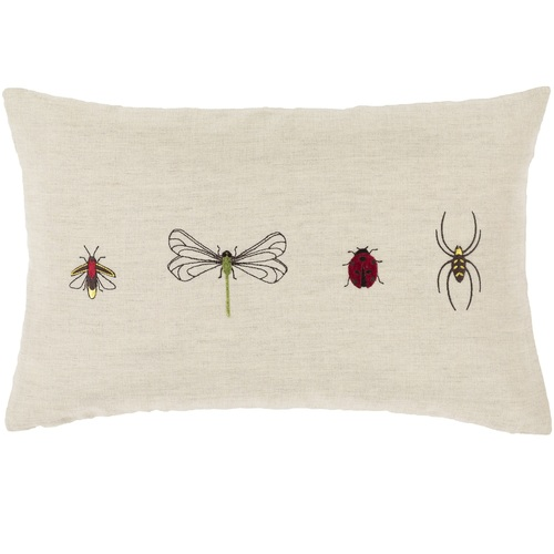 """20"""" Brown and Black Insect Printed Rectangular Throw Pillow Cover - IMAGE 1"""