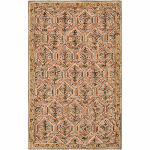 6' x 9' Bohemian Damask Patterned Gray and Beige Rectangular Area Rug - IMAGE 1