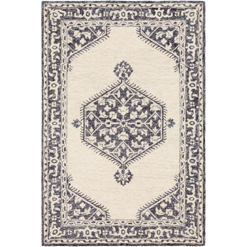 8' x 10' Medallion Beige and Black Rectangular Hand Tufted Wool Area Throw Rug - IMAGE 1