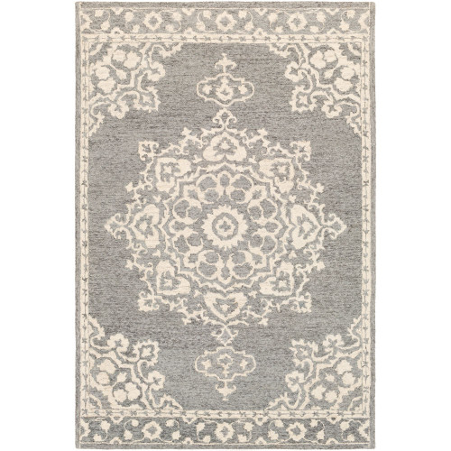 8' x 10' Persian Medallion Gray and Beige Rectangular Hand Tufted Wool Area Throw Rug - IMAGE 1