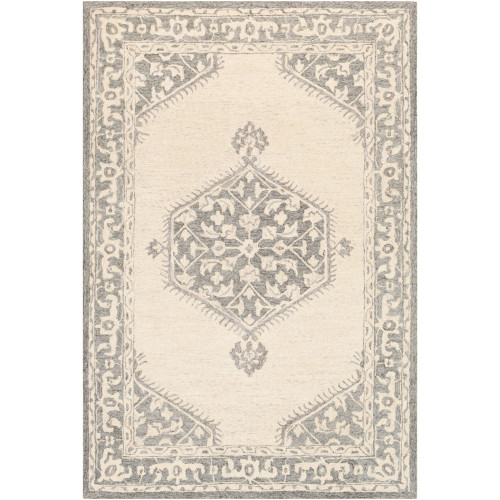 8' x 10' Medallion Gray and Beige Rectangular Hand Tufted Wool Area Throw Rug - IMAGE 1