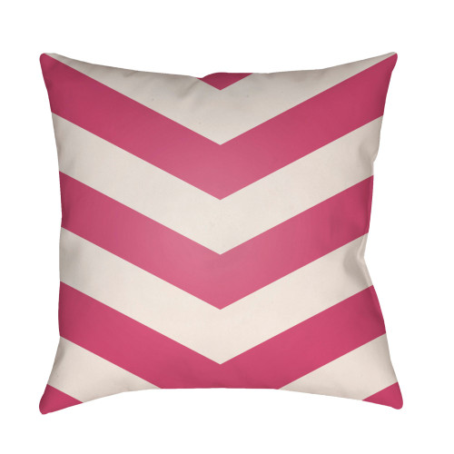 "20"" Punch Pink and White Chevron Patterned Square Throw Pillow Cover - IMAGE 1"