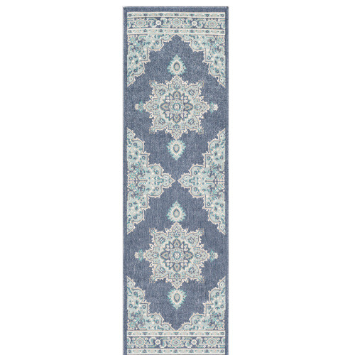 """2'3"""" x 11'9"""" Mandala Design Blue and Green Synthetic Rug Runner - IMAGE 1"""